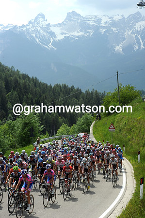 The peloton is in gentle pursuit on the pretty Passo Cibiana...