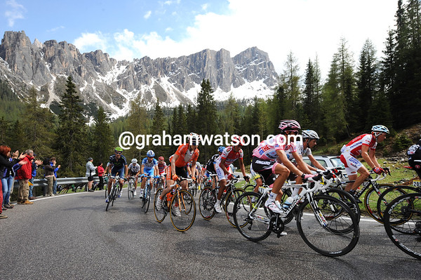 Alberto Contador is near the head of the peloton as it too nears the Giau summit - eight minutes down...