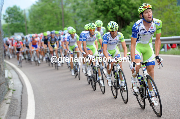 Sabatini leads the Liquigas team on the Tonale Pass - they are worried about the escape changing the shape of the G.C...