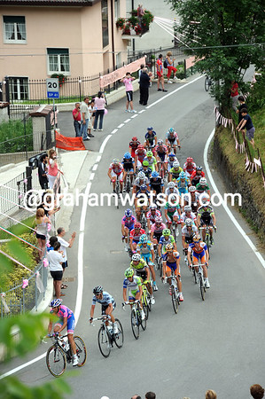 There's a tiny peloton on the Passo di Ganda - a result of the hill in Bergamo and the steep Ganda pass...