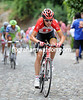 Phillip Deignan has attacked on the pebbled climb into Bergamo Alta...