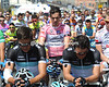 A distraught David Millar ponders his first day as race-leader of the Giro...