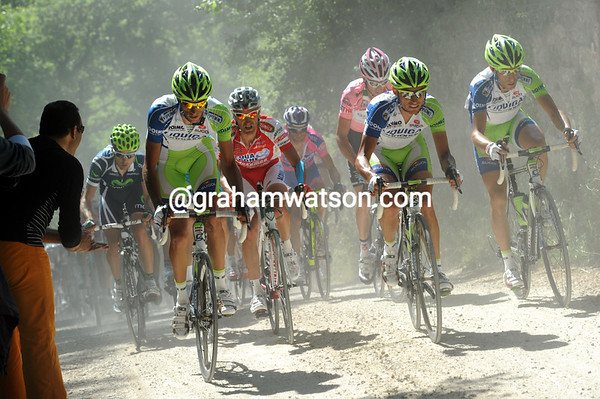 Vicenzo Nibali is chasing with his Liquigas team - with Millar right behind...
