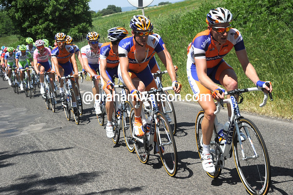 Rabobank are leading a chase on the badly-surfaced roads around Rome - it's not easy keeping a straight line..!