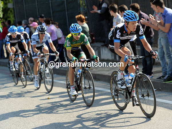 Brett Lancaster and Garmin are leading the chase at the head of the peloton, there's just a gap of 45-seconds now...