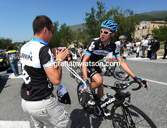 """""""Buongiorno..."""" Brett Lancaster looks more pleased than usual to see his soigneur with a feed-bag..."""