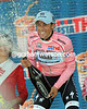 Alberto Contador shows his exuberence at winning the stage and taking the Maglia Rosa today..!