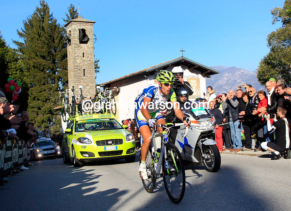 Nibali passes the iconic chapel at Ghisallo with almost one minute in-hand over his pursuers...