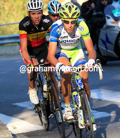 Nibali has Gilbert and Fuglsang with him at first, but then the Italian jumps away with about 55-kilometres to go..!
