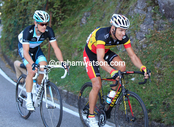The faces of Gilbert and Fuglsang reflect a long, tough, season - and another tough climb..!