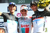 Even the Schlecks are able to smile with Gilbert on the podium - it was that exciting today..!