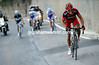 The quartet mame it as far as the Poggio - where Van Avermaet attacks...