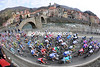 The peloton sweeps up the Turchino Pass, just after Campo Ligure...