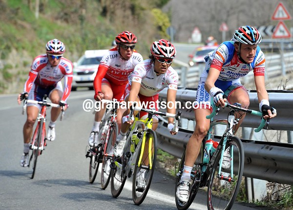 De Marchi and his mates are on the Turchino now - but their lead is shrinking slowly...