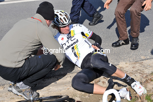 Martin Velits is the other faller - but both men are okay...