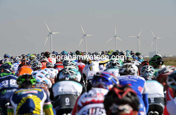 Wind farms ahead mean strong winds coming - maybe that's why the peloton is taking it time today...