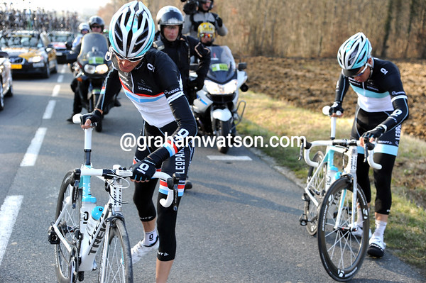 Another crash has caught out Frank Schleck and Wouter Wylandt...