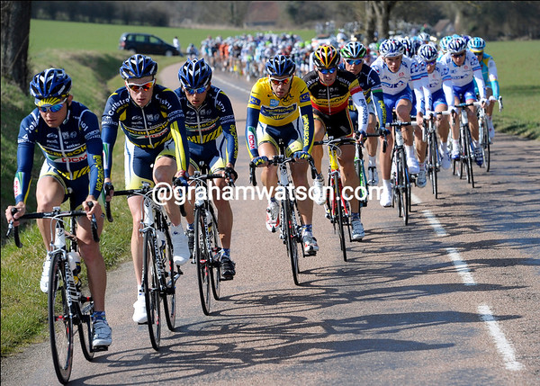 Vacansoleil is still setting the chase pace at the head of the peloton...