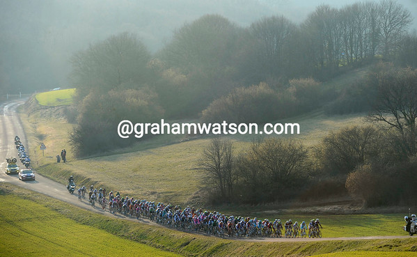 Despite the hills and rolling roads, the peloton is taking its time to bring the escape to heel...