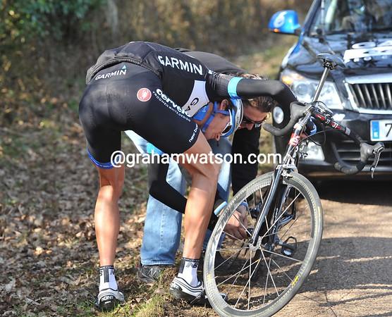 Johan Van Summeren needs a mechanic to fix a rear-mech problem...