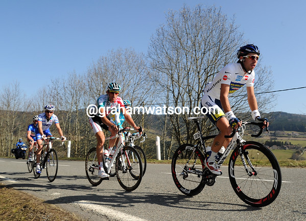 Thomas de Gendt is also in the escape - and quite clearly the most determined of them all...