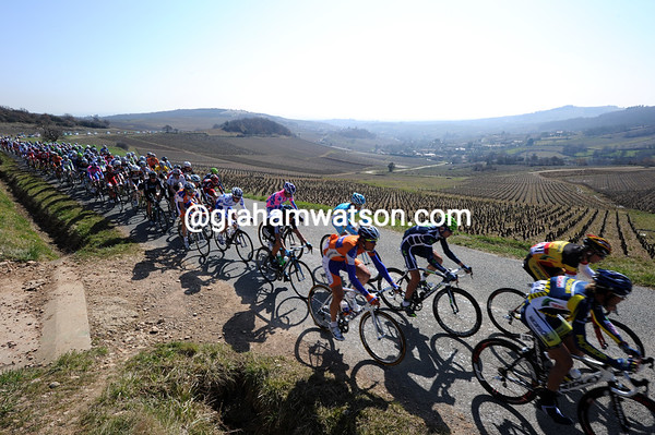 We start the day above the vignes of Beaujolais - where there's some serious cycling going on...