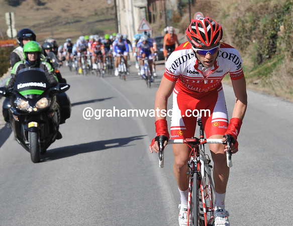 The racing starts in earnest on the Col de La Croix du Chabouret - where Julian El Fares attacks...