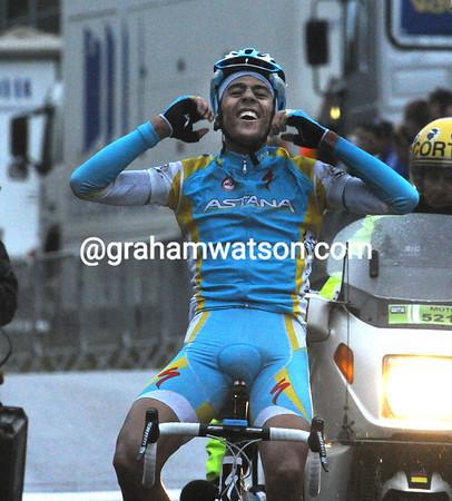 Remy Di Gregorio celebrates winning stage seven of Paris-Nice..!