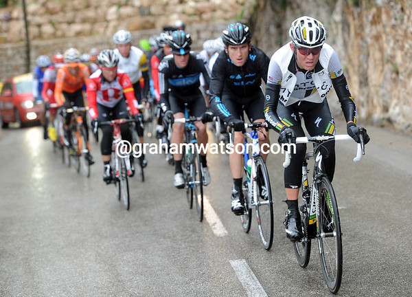 Tejay Van Garderen chases for HTC, but the gap barely changes....