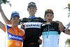 Van Summeren shares his winner's podium with Cancellara and Tjallingii - what a great day it has been out there..!