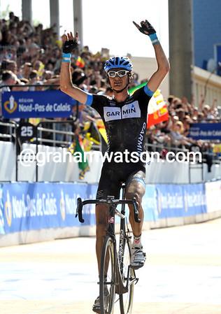 Johan Van Summeren celebrates the greatest day of his life as he wins the 2011 Paris-Roubaix..!