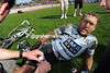 Baden Cooke has to lie down to explain how he took 22nd place for Saxo Bank...