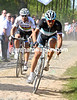 Ballan has been dropped as Cancellara and Hushovd start to duel - the World Champion will not help the Olympic TT champion now...