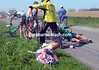 Filippo Pozzato is one of several riders caught in a crash after the first cobbles...