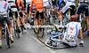 Martijn Verschoor has fallen on the first wet secton of the course...