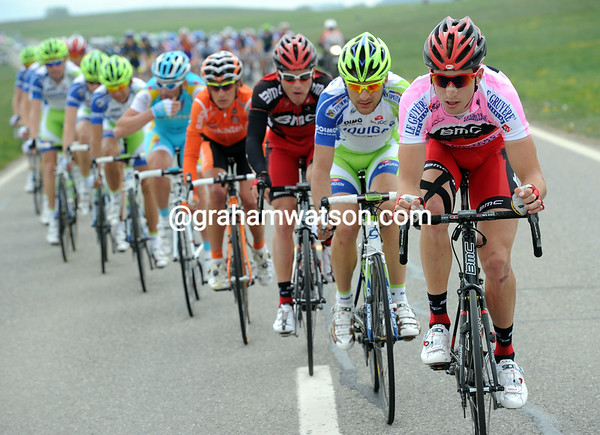 In his Pink clinber's jersey, Phinney is easier to spot at the head of the peloton...