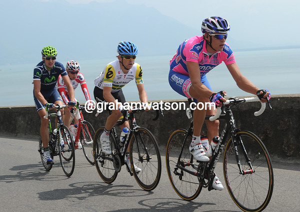 Oleksandr Kvachuk leads the escape onto the first climb - they still have twelve minutes in hand...