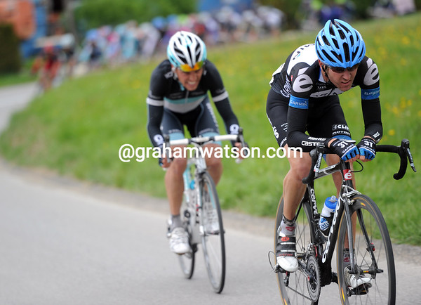 Peter Stetina has attacked on the descent with Rohregger...