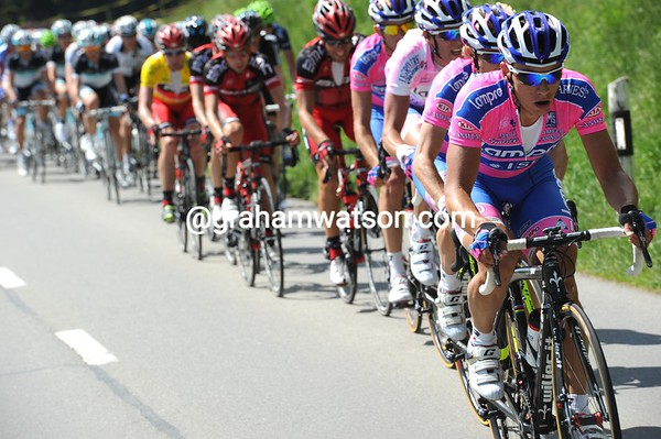 Lampre is starting to chase on the first of two 1st Category ascents - they need to protect their leading climber's jersey...