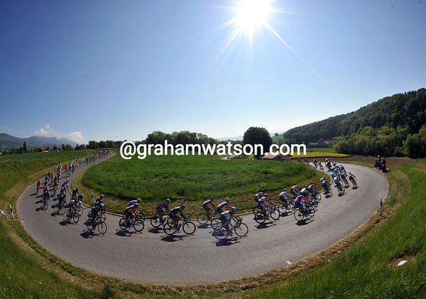 Downhill all the way..? The peloton leaves Champagne behind at the start of the stage...