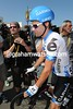 Has David Zabriskie got the wrong day, or is he wearing an aero-helmet as protection against some anticipated crashes..?