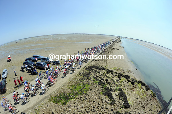 The Tour de France crosses the Passage du Gois, made famous by the 1999 Tour - but this is a neutralised section today...