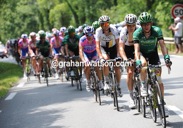 Europecar are leading the peloton, but it's a facade for TV until the sprinters' teams go to work..