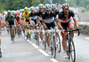 Fabian Cancellara leads a Leopard train at the foot of the Col du Tourmalet....