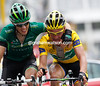 Thomas Voeckler is congratulated by Pierre Rolland after doing enough to keep his Yellow Jersey...