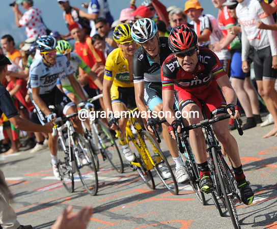 Cadel Evans is the one chasing Sanchez - the rest can barely follow..!