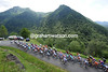 The peloton climbs the pretty Col de Agnes, still five-minutes down on the escape...
