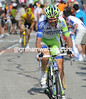 Ivan Basso makes an attack, but he cannot stay away from Voeckler and Evans...