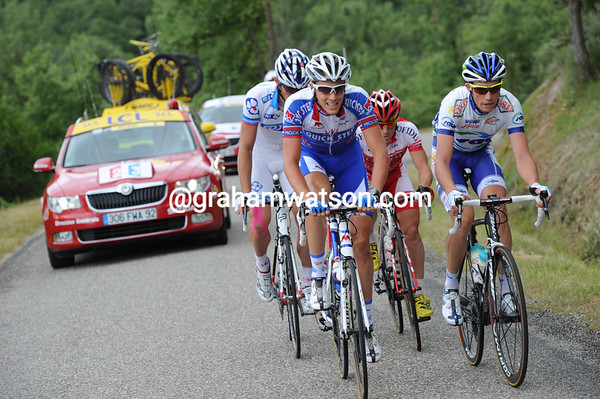 Niki Terpstra is leading today's hopeful escape after just a few kilometres...