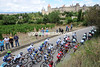 The Tour de France approaches the ancient city of Carcassonne, 25-kilometres into the stage...